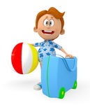 3D boy going on holidays Stock Photos