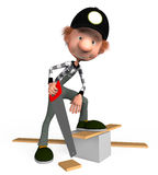 The 3D boy with a hacksaw on a tree. The boy with a hacksaw on a tree saws boards Royalty Free Stock Photo