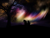 3D boy and his dog watching the northern lights Stock Photo