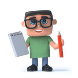 3d Boy holding a notepad and pencil Stock Image