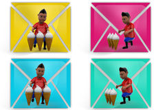 3d boy ice cream icon Stock Photography