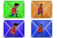 3d boy on knee icon Royalty Free Stock Photography