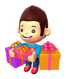 3D Boy Mascot holding a large Gift Box Royalty Free Stock Images