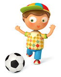3d boy playing football. On white background. 3d render Royalty Free Stock Image