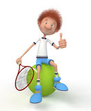 The 3D boy plays tennis. Advertizing of sports meets on a rank of the champion Stock Image