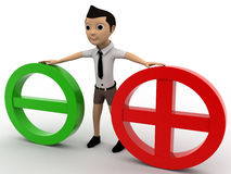 3d boy with red and green plus and minus symbol concept Stock Photos