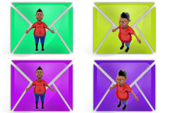3d boy stand icon Stock Photography