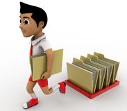 3d boy take one folder from many folders and walk away concept Royalty Free Stock Photo