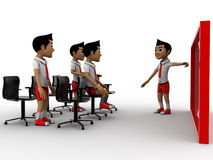 3d boy teaching other boys on board in classroom concept Stock Photo