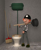 3D boy in a toilet. Stock Photo