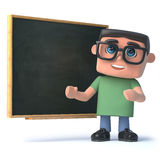 3d Boy wearing glasses at the blackboard. 3d render of a boy wearing glasses stood in front of a blackboard Royalty Free Stock Image