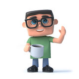 3d Boy wearing glasses drinks a cup of coffee. 3d render of a boy wearing glasses and holding a cup of tea while waving Royalty Free Stock Image