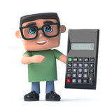 3d Boy wearing glasses holding a calculator. 3d render of a boy wearing glasses holding a calculator Stock Photos