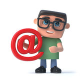 3d Boy wearing glasses holding an email address symbol. 3d render of a boy wearing glasses holding an email address symbol Stock Image