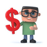 3d Boy wearing glasses holds a US Dollar currency symbol. 3d render of a boy wearing glasses holding a US Dollar currency symbol Stock Image
