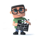 3d Boy wearing glasses makes a movie. 3d render of a boy wearing glasses and holding a film makers clapperboard Royalty Free Stock Photography