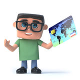3d Boy wearing glasses pays with a credit card Royalty Free Stock Photos
