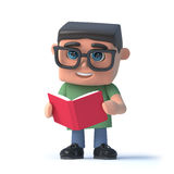 3d Boy wearing glasses reads a book. 3d render of a boy wearing glasses and reading a book Royalty Free Stock Image