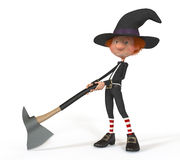 3D boy wearing Halloween. Fantastic evil spirits bringing pleasure to the house Stock Photos