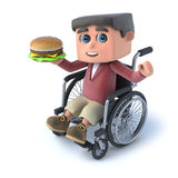 3d Boy in wheel chaird eating burger. 3d render of a boy in a wheelchair holding a beefburger Royalty Free Stock Photos