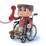 3d Boy in wheelchair answers the phone. 3d render of a boy in a wheelchair answering the phone Stock Image