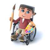 3d Boy in wheelchair is an artist. 3d render of a boy in a wheelchair holding a paint brush and palette Royalty Free Stock Photography