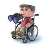 3d Boy in wheelchair with binoculars. 3d render of boy in wheelchair holding pair of binoculars Royalty Free Stock Photo