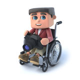 3d Boy in wheelchair with camera Stock Photos