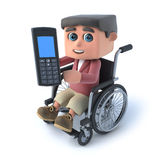 3d Boy in wheelchair chats on his cellphone. 3d render of a boy in a wheelchair holding a cellphone Stock Image