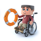 3d Boy in a wheelchair comes to the rescue. 3d render of a boy in a wheelchair holding a life ring Stock Photography