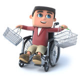 3d Boy in wheelchair with empty shopping baskets. 3d render of a boy in a wheelchair with empty shopping baskets Stock Photography