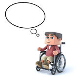 3d Boy in wheelchair with empty thought bubble. 3d render of a boy in a wheelchair with empty thought balloon Royalty Free Stock Photos