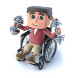 3d Boy in wheelchair exercises with weights. 3d render of a boy in wheelchair using some weights Stock Images