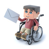 3d Boy in wheelchair gets mail. 3d render of a boy in a wheelchair holding an envelope Stock Photos