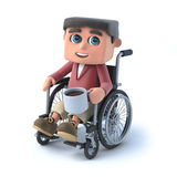 3d Boy in wheelchair has a coffee break. 3d render of a kid in a wheelchair drinking a cup of coffee Stock Photos