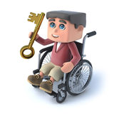 3d Boy in wheelchair has a golden key. 3d render of a kid in a wheelchair holding a gold key Royalty Free Stock Photography