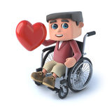 3d Boy in wheelchair has a heart. 3d render of a kid in a wheelchair holding a red heart Royalty Free Stock Photography