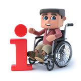3d Boy in wheelchair has information. 3d render of a boy in a wheelchair next to an information symbol Royalty Free Stock Images