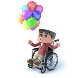 3d Boy in wheelchair has lots of colored balloons. 3d render of a boy in a wheelchair with many colored balloons Royalty Free Stock Images