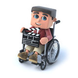3d Boy in wheelchair holding a clapperboard Royalty Free Stock Photography