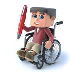 3d Boy in wheelchair holding a pen. 3d render of a boy in wheelchair holding a red pen Stock Photos