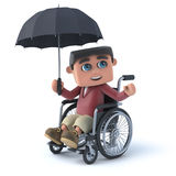 3d Boy in wheelchair holding up an umbrella. 3d render of a boy in a wheelchair using an umbrella Royalty Free Stock Photo