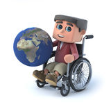 3d Boy in wheelchair holds globe of the Earth Royalty Free Stock Photography