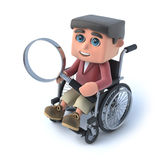 3d Boy in wheelchair looking through magnifying glass. 3d render of a boy in a wheelchair looking through a magnifying glass Royalty Free Stock Images