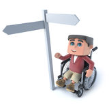 3d Boy in a wheelchair looks at roadsign. 3d render of a boy in a wheelchair looking at blank roadsign Royalty Free Stock Photography