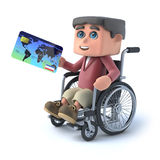 3d Boy in wheelchair pays with credit card. 3d render of a boy in a wheelchair holding a credit card Royalty Free Stock Images