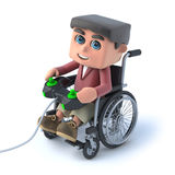 3d Boy in wheelchair playing a videogame. 3d render of a boy in a wheelchair playing a videogame Stock Photography