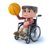 3d Boy in wheelchair plays basketball. 3d render of a boy in a wheelchair holding a basketball Stock Images