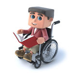 3d Boy in wheelchair reading a book. 3d render of a boy in a wheelchair reading a book Royalty Free Stock Photography