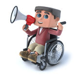 3d Boy in wheelchair speaking through megaphone. 3d render of a boy in a wheelchair using a megaphone Royalty Free Stock Images